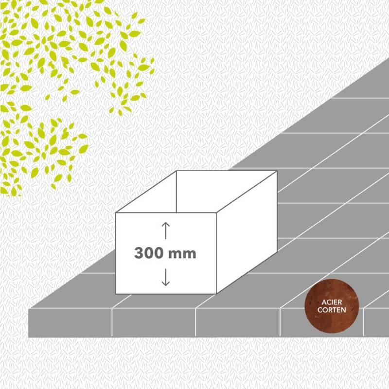 Bac-de-jardin-sans-fond-corten-brut-hauteur-300 mm-carre-Les-Serruriers-du-Paysage