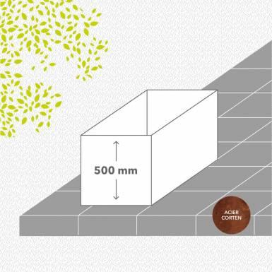 bac-de-jardin-sans-fond-corten-brut-hauteur-500 mm-rectangle-Les-Serruriers-du-Paysage