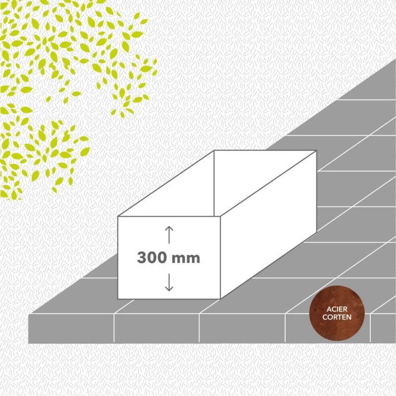 bac-de-jardin-sans-fond-corten-brut-hauteur-300 mm-rectangle-Les-Serruriers-du-Paysage