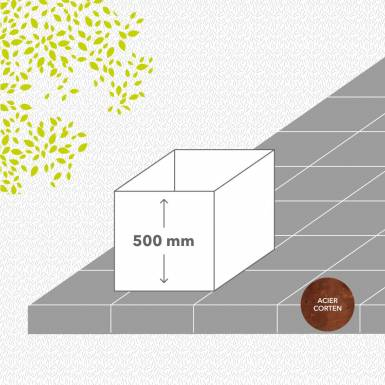 bac-de-jardin-en-kit-corten-brut-hauteur-500 mm-carre-Les-Serruriers-du-Paysage