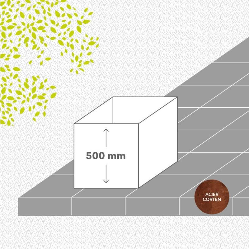 bac-de-jardin-soude-corten-brut-hauteur-500 mm-carre-Les-Serruriers-du-Paysage