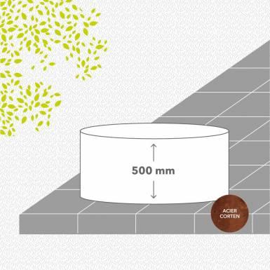 bac-de-jardin-soude-corten-brut-hauteur-500 mm-rond-Les-Serruriers-du-Paysage