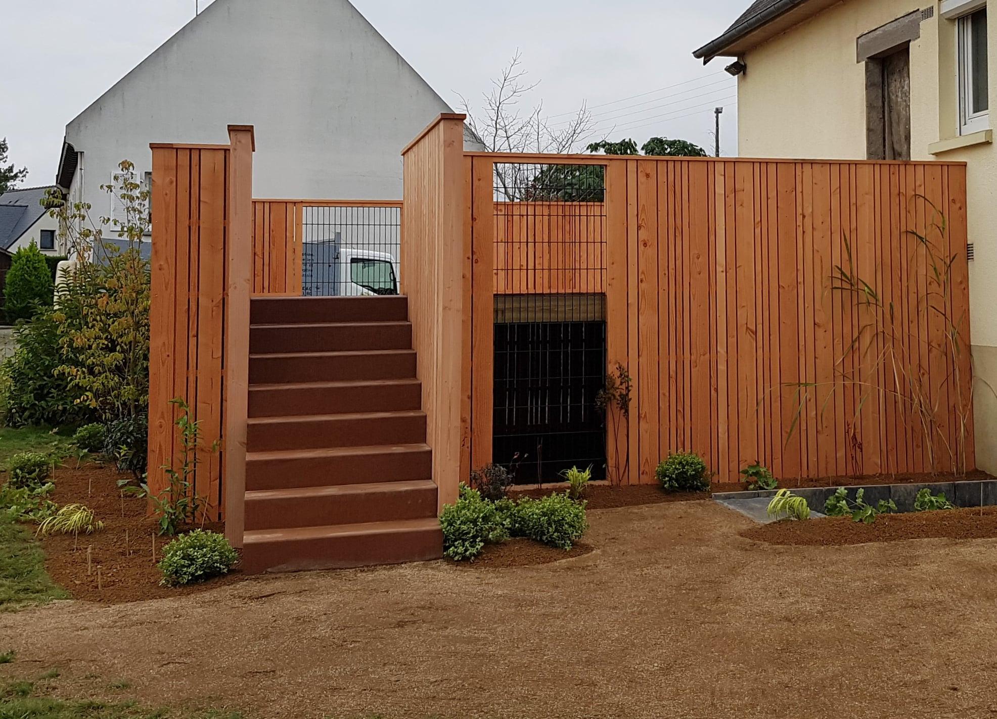 escalier extérieur en acier corten